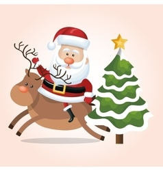 card santa claus riding reindeer and tree star vector image vector image