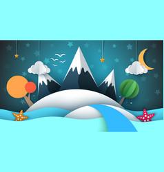 cartoog paper island star mountain cloud moon vector image