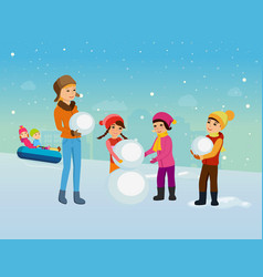 Children in winter clothes sculpt snowman vector