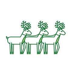 christmas three reindeer animal horned funny vector image