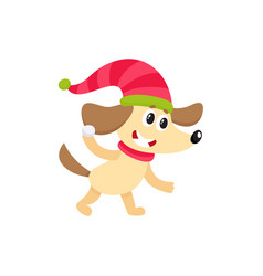 cute dog character playing throwing snowball vector image vector image