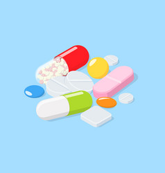 Different medical pills tablets capsules vector