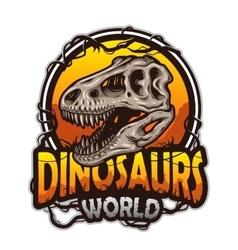 Dinosaurs world emblem vector