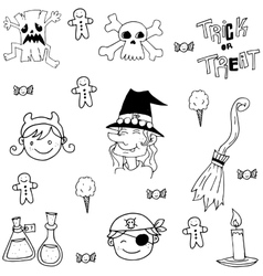 Element halloween face and witch in doodle vector