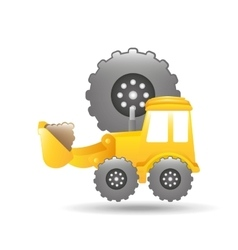 Excavator truck gear wheel icon graphic vector
