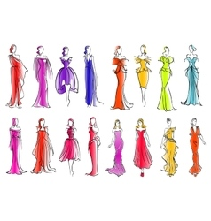 Fashion models in colorful dresses sketch style vector image