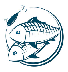Fish and bait silhouette vector