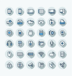 Flat color thin line icons set with digital vector
