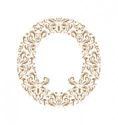floral letter o ornament font vector image