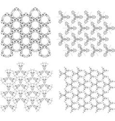 Geometric Seamless Patterns Set Monochrome vector image