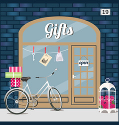 gifts shop s facade of blue brick vector image vector image
