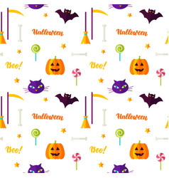 happy halloween print seamless pattern vector image vector image