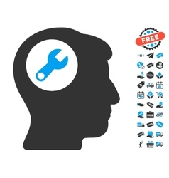 Head Wrench Icon With Free Bonus vector image