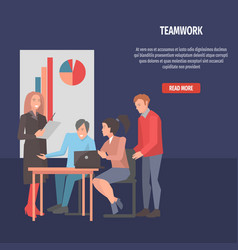 people resolving issues on laptop teamwork startup vector image