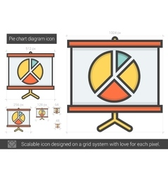 Pie chart diagram line icon vector