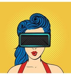 pop art surprised woman wearing virtual reality vector image vector image