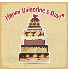 postcard showing big cake for Valentines Day vector image