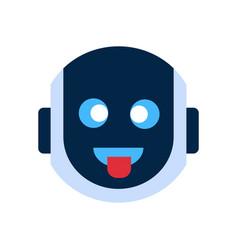 Robot face icon smiling face showing tongue vector