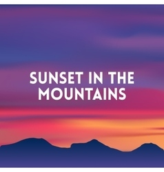 Square blurred mountain background - sunset colors vector