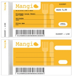 Ticket for the restaurant vector