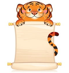 Tiger with scroll - symbol of Chinese horoscop vector image vector image