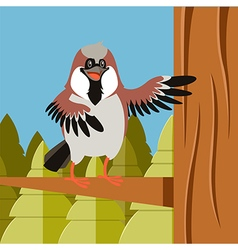 Happy sparrow on the tree flat background vector