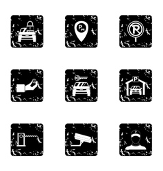 Parking icons set grunge style vector