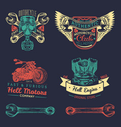 iker club logos set motorcycle repair vector image