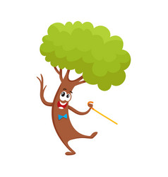 funny comic tree character dancing step with vector image