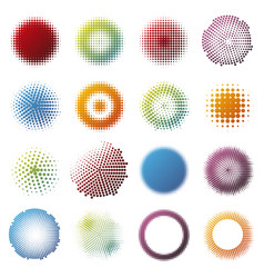 Colorful halftone design round elements collection vector