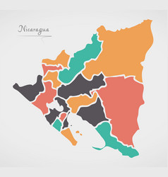 Nicaragua map with states and modern round shapes vector