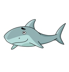 Big smiling swimming shark vector image