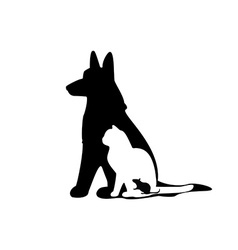 Mouse cat dog silhouette vector