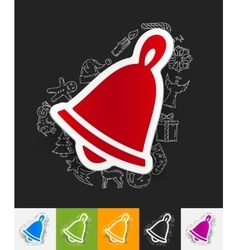 christmas bell paper sticker with hand drawn vector image