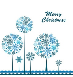 Template snowflake tree greeting card vector