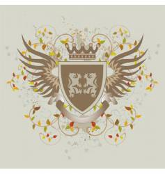 grunge vintage shield with lions vector image