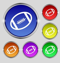 American football icon sign round symbol on bright vector