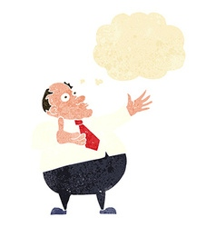 Cartoon exasperated middle aged man with thought vector
