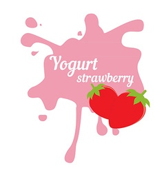Splash of strawberry yogurt vector