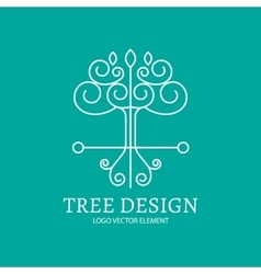 Mono line logo design tree vector