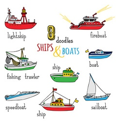 Set of doodles ships and boats vector