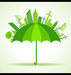 Eco city concept with umbrella stock vector