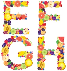 Alphabet from fruit EFGH vector image vector image