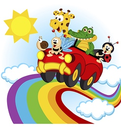 Animals traveling by car over the rainbow vector