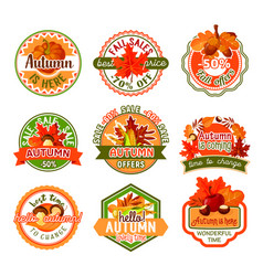 autumn label set of fall season and sale template vector image vector image