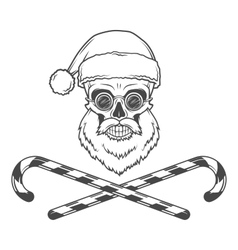 Bearded skull santa claus with candy canes and vector