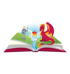 book of fairytales with knight and dragon vector image