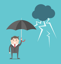 businessman umbrella and thunderstorm vector image