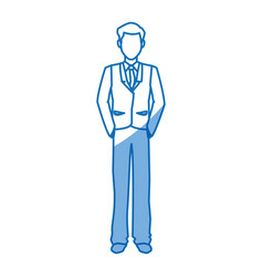 Cartoon man business standing suit elegant vector