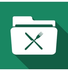 Crossed fork over knife grey folder flat icon with vector